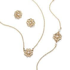 The fine look of gold and pearls with a delicate filigree flower design. 3-Piece set includes pendant necklace, bracelet, and earrings. Regularly $9.99, buy Avon Valentine's Day Gifts online at http://eseagren.avonrepresentative.com