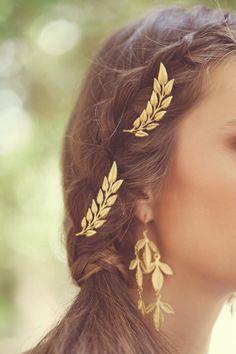 Gold Leaf Wedding Hair Pins Wedding Bobby Pins by EchoandLaurel