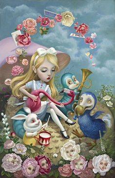 ALICE BY XU WANG. Alice showing her attributes as a Muse at heart. ALICE BY XU WANG. Alice showing her attributes as a Muse at heart. All artistic creativity in the imagination is her Lewis Carroll, Alice Madness, Lowbrow Art, Adventures In Wonderland, Creepy Cute, Whimsical Art, Surreal Art, Disney Art, Cute Art