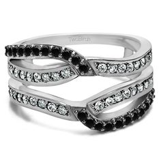 Black And White Diamond Infinity Wedding Ring Guard Enhancer ( 0.39 ct. twt.)