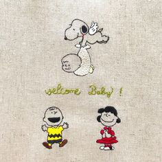 "peanuts×embroidery on Instagram: ""welcome baby ! * * #snoopy #peanuts #charliebrown #handembroidery #embroidery #スヌーピー #ピーナッツ #刺繍"" Baby Snoopy, Snoopy Love, Cross Stitch Embroidery, Embroidery Patterns, Lucy Van Pelt, Peanuts Gang, Welcome Baby, Beagle, Charlie Brown"