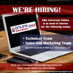 INTERNSHIP OPPORTUNITY FOR AMA EDUCATION SYSTEM STUDENTS! AMA University Online is in need of interns for the following teams: TECHNICAL TEAM - Must be enrolled in On-the-Job/Practicum at AMA University and Computer Colleges, ACLC College, AMA Computer Learning Center, ABE International Business College or St. Augustine School of Nursing - Must be currently taking up BS Computer Science / BS Information Technology - Must have basic knowledge in HTML, CSS and other web technologies SALES AND…