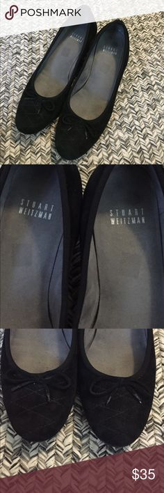 Stuart Weitzman velvet wedges Beautiful and in GUC! Size (although hard to read) says 7M. Small string bow near toe of each shoe. Very minor wear. Velvet with a quilt like stitching on toe area. Ask all questions before purchasing. Stuart Weitzman Shoes Wedges