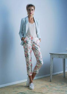 Mint wool Betina blazer; Bone double-faced organza Andrea tank; Hibiscus print Shantung Conchita trouser