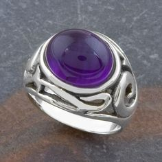 Sterling Amethyst Ornamented Ring (Thailand) (Size ), Women's