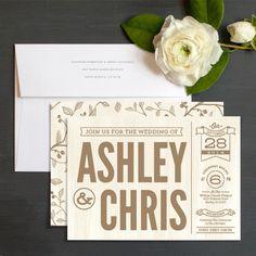 Modern Rustic Wedding Invitations by Geekink Designs | Elli