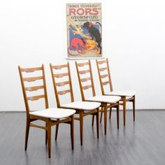 Set of four 60s dining chairs, beech, newly covered, beige - www.velvet-point.com