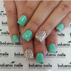 Beautiful mint nails by @Botanic Nails check out there page for awesome nail ideas!!