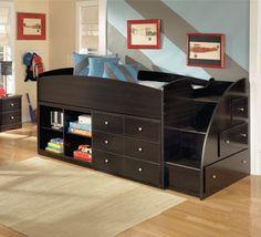 Maxtrix Low Loft Bed W Dresser Amp Bookcase Bed Frames