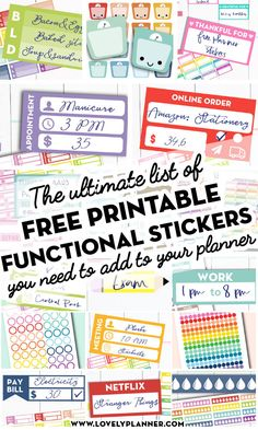 More than 45 FREE Printable Functional Planner Stickers to decorate your planner or bullet journal and get more organized! More than 45 FREE Printable Functional Planner Stickers to decorate your planner or bullet journal and get more organized! To Do Planner, Mini Happy Planner, Passion Planner, Teacher Planner, Free Planner, Planner Pages, Planner Ideas, 2015 Planner, Blog Planner