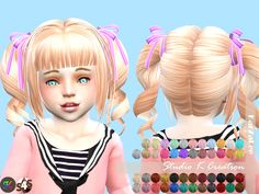 Lana CC Finds - Animate hair 23 momo - toddler version