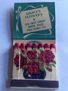 VTG Feature Matchbook Short'S Flowers Napa California | eBay