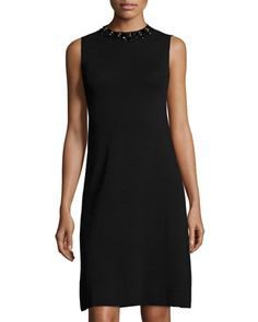 1da6ffbbaa3c Label by 5Twelve Sleeveless Knit Dress w Beaded Mock-Neck