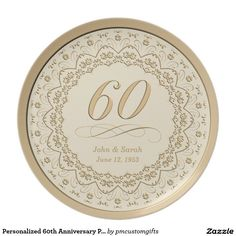 Shop Personalized Birthday Plate created by pmcustomgifts. 60th Anniversary Gifts, 60 Wedding Anniversary, Wedding Dj, Birthday Plate, 60th Birthday Party, Customized Gifts, Personalized Gifts, Custom Plates, Floral Border