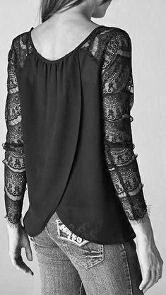 Black Lace Shirt draping on the back and the lace sleeves. Lace Sleeves, Shirt Sleeves, Lingerie Look, Look Fashion, Womens Fashion, Jeans Fashion, Fashion Black, Fashion Outfits, Fashion Weeks