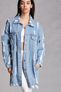 A denim jacket featuring a distressed design, button front, basic collar, two front flap button patch pockets, front welt pockets, long button cuff sleeves, and an oversized longline silhouette. This is an independent brand and not a Forever 21 branded item.