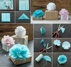 There tissue paper pom pom flowers are so pretty. It's a great way to use them to decorate your gifts. What you will need: Tissue paper Scissors Twine Punch Click below link for tutorial… DIY Tissue Pom Pom Gift Toppers Pom Pom Flowers, Tissue Paper Flowers, Diy Flowers, Tissue Poms, Paper Poms, Papel Tissue, Paper Trees, Flower Diy, Handmade Flowers