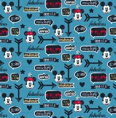 Disney Fabric- Mickey and Minnie Fabric with icon disney mouse ears & arrow cotton Fabric by the yard Minnie Mouse Fabric, Disney Collage, Disney Mouse Ears, Mickey Mouse Wallpaper, Disney Fabric, Jack In The Box, Disney Posters, Disney Scrapbook, Scrapbooking