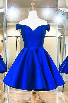 2018 Fashion Off The Shoulder Royal Blue Satin Homecoming Dresses 2018 Mode aus der Schulter Royal Blue Satin Homecoming Kleider Dresses Short, Prom Dresses Blue, Prom Party Dresses, Sexy Dresses, Fashion Dresses, Dress Party, Cheap Dresses, Wedding Dresses, Party Gowns