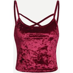 SheIn(sheinside) Crisscross Crushed Velvet Cami Top ($6) ❤ liked on Polyvore featuring tops, burgundy, spaghetti strap tank, spaghetti strap tank top, criss cross tank top, purple tank top and spaghetti strap camisole
