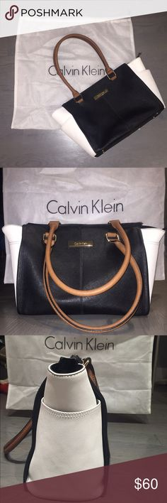 Calvin Klein Black & White Purse I got this brushed leather purse in December 2014 at Century 21, so the actual original value is closer to $200. I carried it for a year and it has since been safely stored in the original bag. It has two outer side pockets and three inner pockets (one with a zipper). The top zips as well and there are no issues with any of the zippers. The straps are long enough to easily swing over your shoulder. It's a beautiful  bag that got me lots of compliments, in…
