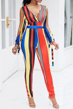 3a3df23522 Striped Color Block Lace-Up Patchwork Slim Women s Jumpsuits Jumpsuits  Casual Jumpsuit
