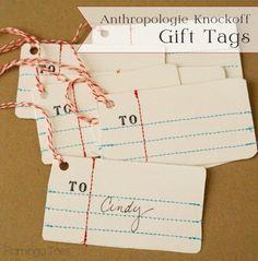 Anthro Penmanship Gift Tags -Flamingo Toes