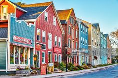 Colourful shopping streets in the town of Charlottetown,Prince Edward Island, Canada