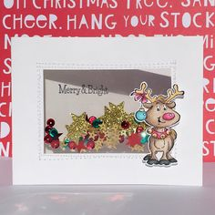 Art Impressions Rubber Stamps: Ai Christmas:  Holly Jolly Set (Sku#4667) ... handmade winter card. Shaker, stars, sequins...Merry & Bright