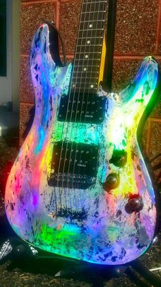 musical instruments *Custom Holographic Schecter USA Diamond Series byDMSA Fantastic Custom Painted Musical Instrument with Holographic Medum.Save More: INCLUDES FREE Guitar Painting, Guitar Art, Music Guitar, Cool Guitar, Playing Guitar, Guitar Sheet, Learning Guitar, Music Painting, Sheet Music
