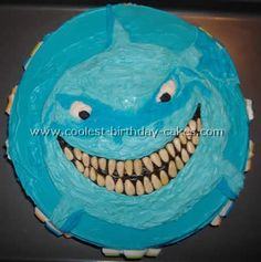 Shark cake! He looks like Bruce... I could do a Nemo party for C!