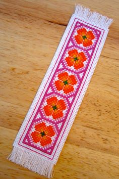 Floral Handmade Cross Stitch Bookmark in Orange and Pink (#269)