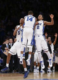 Rodney Hood,  Rasheed Sulaimon and Quinn Cook