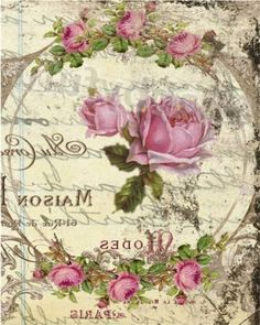 Decoupage Vintage, Decoupage Paper, Vintage Crafts, Images Vintage, Vintage Artwork, Graphics Fairy, Free Graphics, Pink Rose Flower, Flower Art