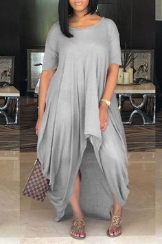 Women Light-gray Light-gray High Low Round Neck Casual Loose Dress - S Curvy Girl Fashion, Plus Size Fashion, Fashion Women, Casual Outfits, Cute Outfits, Fashion Outfits, Style Fashion, Casual Dresses, Look Plus Size