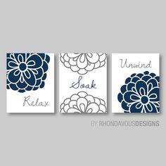 Fl Relax Soak Unwind Print Trio Bathroom Home Decor Wall Art Flower Navy Blue And Dark Gray Grey By On Etsy