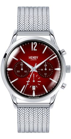 Henry London Men's Chancery Chronograph Stainless Steel Bracelet Watch In Silver/ Red Mesh Bracelet, Bracelet Watch, Bracelets, London Watch, Opaline, Watch Case, Stainless Steel Bracelet, Chronograph, Quartz