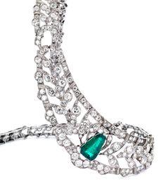 Emerald and diamond necklace, circa 1920