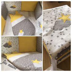Tour de lit coussins en coton gris,jaune et blanc avec étoiles et nuages