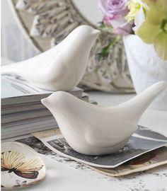 Ceramic birds subtle -no eyes, hint of wing shape
