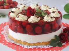 Mega truskawkowy torcik - medium Polish Desserts, Polish Recipes, Cookie Desserts, Sweet Desserts, Polish Food, Mousse, Torte Cake, Summer Cakes, Different Cakes