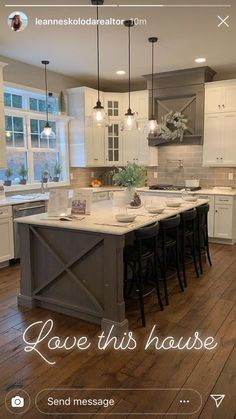 Kitchen Redo, Home Decor Kitchen, Kitchen Interior, New Kitchen, Home Kitchens, Farmhouse Kitchen Island, Modern Farmhouse Kitchens, Kitchen Ideas, Kitchen Cabinets