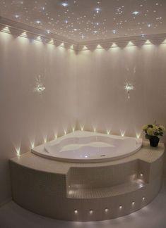 Jacuzzi Bathroom, Bathtub Decor, Bathroom Lighting, Bathroom Tubs, Jacuzzi Tub, Whirlpool Bathtub, Dream Bathrooms, Beautiful Bathrooms, Corner Tub Shower