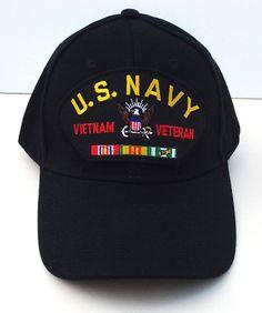 631826ebf6f US NAVY VIETNAM VETERAN (BLACK) Military Veteran Hat 445 VV  BaseballCap Veteran  Hats