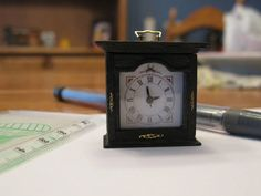 Miniature working mantle clock by Emilie Viau from Creations Petitbois (QC, Canada). Mantle Clock, Scale, Miniatures, Canada, Accessories, Weighing Scale, Libra, Balance Sheet, Ladder
