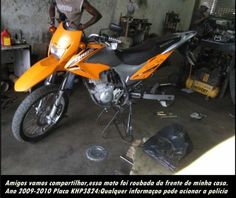 Ajudem a encontrar moto roubada em Serra Talhada  - Esta moto foi roubada da porta da residência de Alexandre Marinho, no bairro da AABB em Serra Talhada, informações entrem em contato com a policia ou mande um e-mail para nossa redação