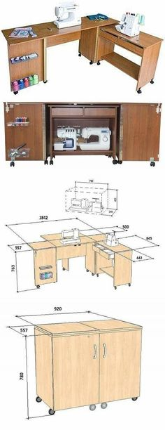 Craft room table diy sewing spaces 52 new Ideas Sewing Room Design, Craft Room Design, Sewing Spaces, Sewing Rooms, Diy Sewing Table, Sewing Machine Tables, Sewing Machines, Sewing Box, Sewing Notions