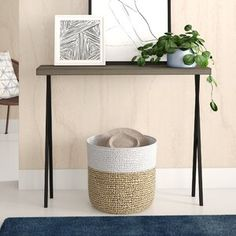 Union Rustic Jeremiah Console Table | Wayfair.co.uk Narrow Console Table, Entryway Tables, Hall Tables, Entryway Wall, Entryway Furniture, Foyer, Table Color, Tempered Glass Table Top, Side Table With Storage