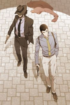 Lupin the Third and Daisuke Jigen.This picture reminds me vaguely something, perhaps Manga Art, Manga Anime, Anime Art, Anime Love, Anime Guys, Lupin The Third, Japanese Cartoon, Popular Anime, Cowboy Bebop