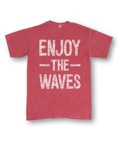 Red 'Enjoy the Waves' Tee - Men's Regular #zulily #zulilyfinds